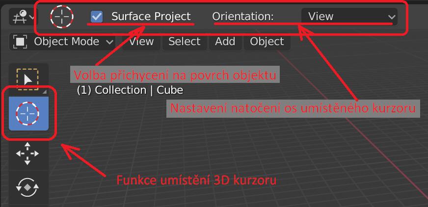 nástroj 3D Cursor